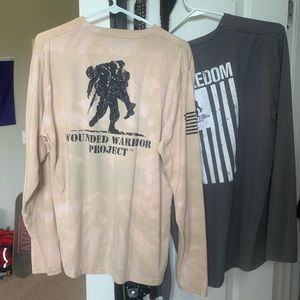 Two Under Armour wounded warrior long sleeve Tees